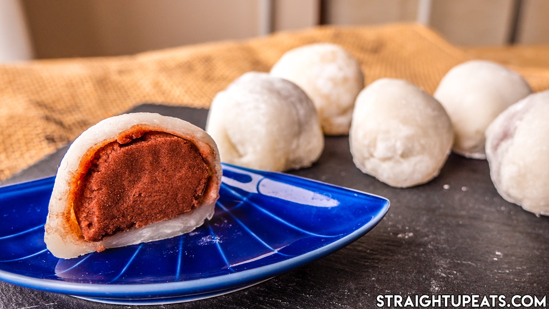 Mochi made without rice flour, filled with red bean paste